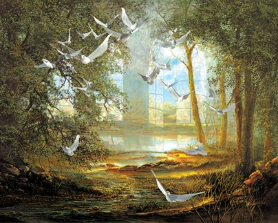 Cathedral By Roberta Wesley A Spiritual Landscape With Doves