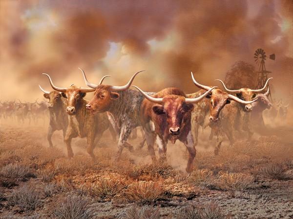 Day Of The Horns By Roberta Wesley Longhorns Stampede In
